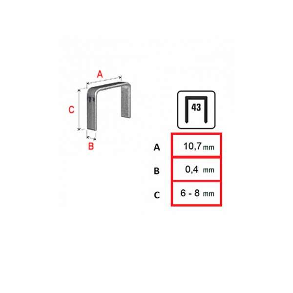 medidas grapas clavex 43